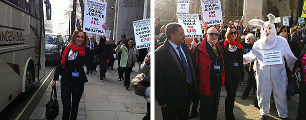 Demonstrationagainst the Framework Agreement (FWA) by the Ministry of Justice' (MoJ) to outsource interpreting services
